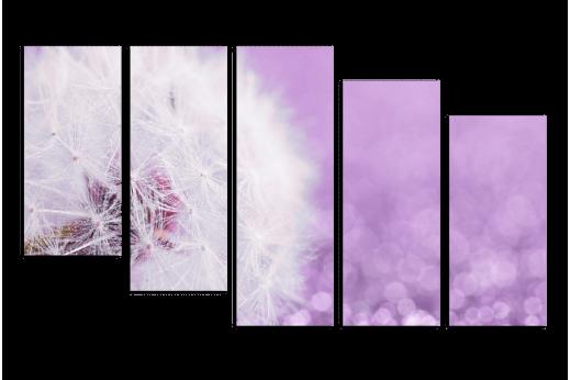 Модульная картина Белый одуванчик на лавандовом фоне