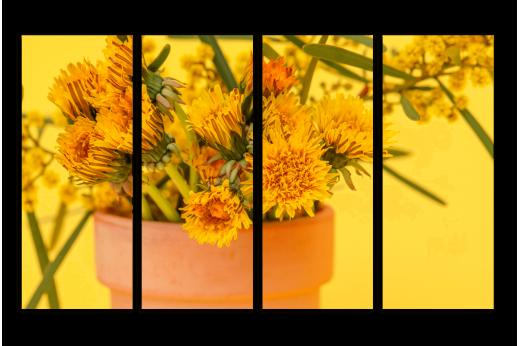 Модульная картина Жёлтые одуванчики в горшке