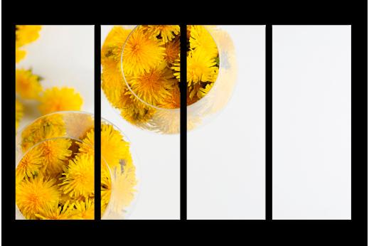 Модульная картина Жёлтые одуванчики в бокале