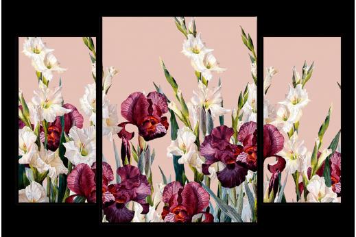 Модульная картина Бордовые ирисы