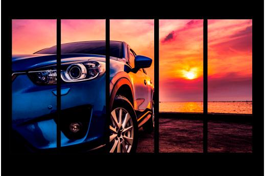 Модульная картина Машина на закате